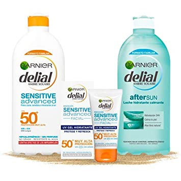 Garnier Delial Kit de Protección Pieles Sensibles: Protección Facial UV Gel IP50+, Leche Solar IP 50+, Leche Hidratante Calmante After Sun - Gel 50 ...