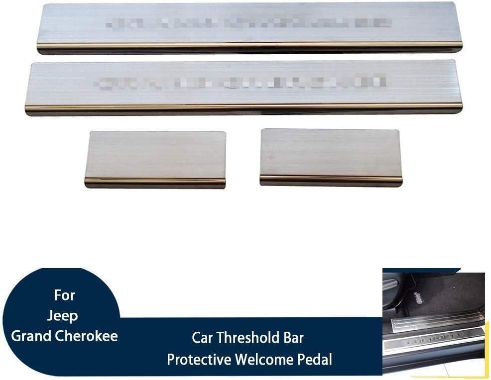 Auto Esterno Protector Strisce Adesivi Accessori per Jeep Grand Cherokee 2014 Pedale Calci Scuff Pedali Benvenuto Threshold Bar BTSDLXX 4Pcs Acciaio Inox Soglia della Porta Battitacco