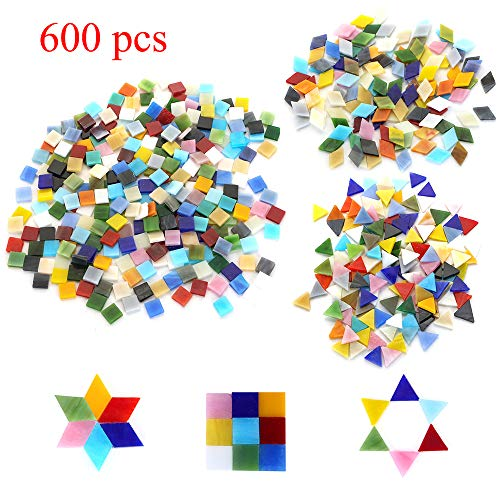 600pcs/400g Bulk Mosaic Tile Assortment, Mixed Colors Stained Glass, Square, Triangle, Rhombus, Home Decoration DIY Arts & Craft (Non-Transparent) (Multicolor Mosaic Tile)