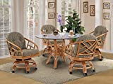 Made in USA Rattan Chiba Dining Caster Chair Table Gaming Furniture 5 Piece Set (Honey; Grasses Sage fabric)