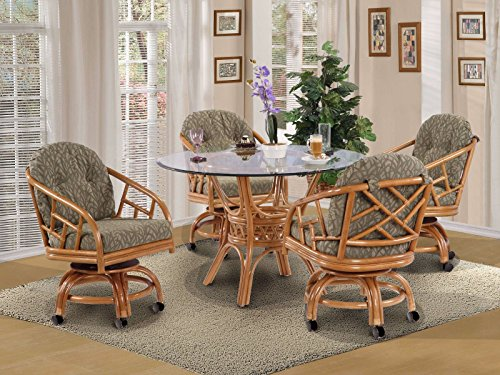 Made in USA Rattan Chiba Dining Caster Chair Table Gaming Furniture 5 Piece Set (Honey; Grasses Sage fabric) by urbandesignfurnishings.com