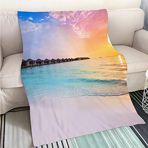 BEICICI Super Soft Flannel Thicken Blanket Beautiful Sunset at Tropical Resort with overwater bungalows Sofa Bed or Bed 3D Printing Cool Quilt ()