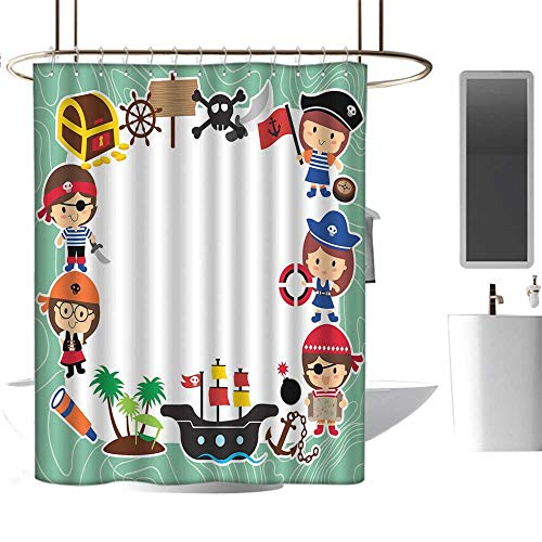 Island Style Sushi Set - MKOK Striped Shower curtain72 x78 Kids Party,Pirate Explorer Children in Cartoon Style Treasure Chest Ship Tropical Island,Multicolor,Print Polyester Fabric Bathroom Decor Sets with Hooks