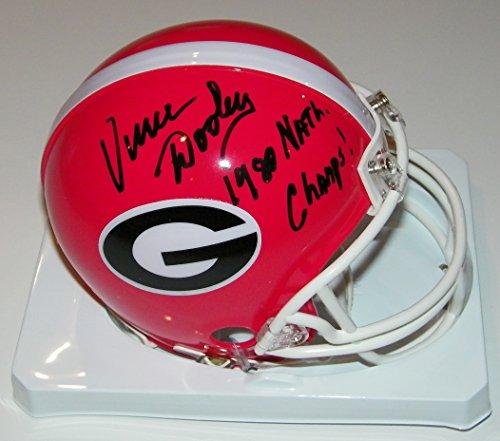 - Vince Dooley Signed Autographed Auto UGA Georgia Bulldogs Mini Helmet w/1980 Natl Champs - Proof