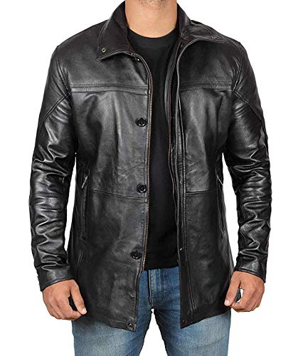 (Decrum Black Mens Lambskin Leather Jacket Car Coat for Adults (B07GT3GDMT MCF)| Bristol, XL)