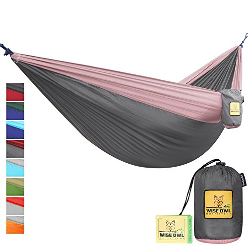 The Ultimate Single & Double Camping Hammocks- The Best Quality Camp Gear For Backpacking Camping Survival & Travel- Portable Lightweight Parachute Nylon Ropes and Carabiners Included! DOCGR