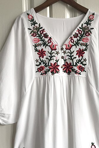 Amy Tunic Flowy Tops Peasant Floral White Mexican Dressy Blouse Embroidered Babe BxnrBq6