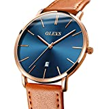 Mens Thin Watches Blue Dial/Black Dial/White Dial,Simple Brown/Black/Yellow Leather Watch Men Rose Gold Casual Waterproof Quartz Business Watch with Date,Men's Stainless Steel Minimalist Wrist Watch