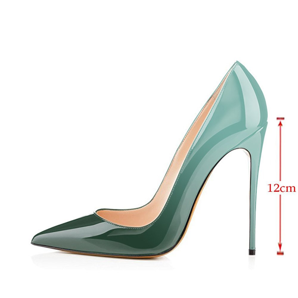 Modemoven Women's Pointy Toe High Heels Slip On Stilettos Large Size Wedding Party Evening Pumps Shoes B07117WB51 12 B(M) US|Emerald