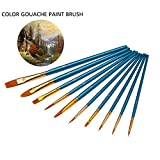 AOLVO Washable Paint Brush, Professional Miniature Pastel Tiny Paint Brushes Set Round Pointed Tip Nylon Hair Artist Paint Brushes Bulk for Acrylic Watercolor Oil Painting(blue,10pcs)
