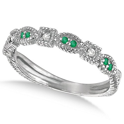 0.15ct Womens Unique Round Green Emerald Gemstone and Diamond Vintage Stackable Ring 14k White Gold ()