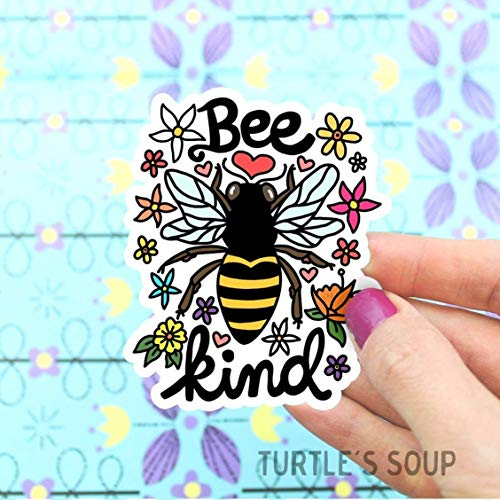 Bee Kind Sticker, Be Kind, Vinyl Stickers, Save The Bees, Flowers, Honey Bee, Car Decal, Laptop Stickers, for Water Bottle, Bee Art, Illustrated, Turtle's ()