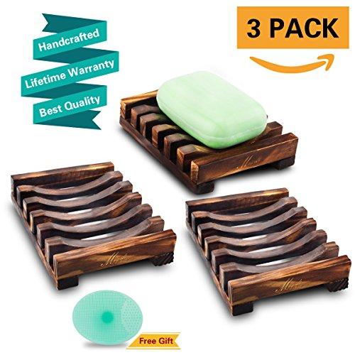 Magift 3 Piece Soap Dish Holder, Bathroom Wooden Soap Case, Sink Deck Bathtub Shower Dish, Rectangular, Hand Craft, Natural Wooden Holder for Soap, Sponges, Scrubber (Brass Pine Bed)