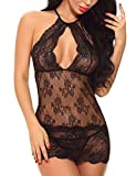 Ababoon Women Babydoll Lingerie Chemise Halter Nightwear Lace Teddy Dress