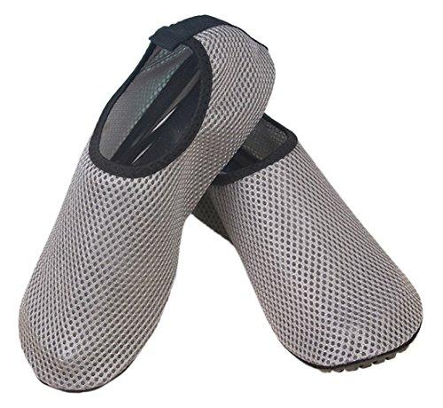 Unisex Flessibile Pelle Di Acqua A Piedi Nudi Scarpe Calze Aqua Per La Spiaggia Nuotata Surf Yoga Esercizio Grigio