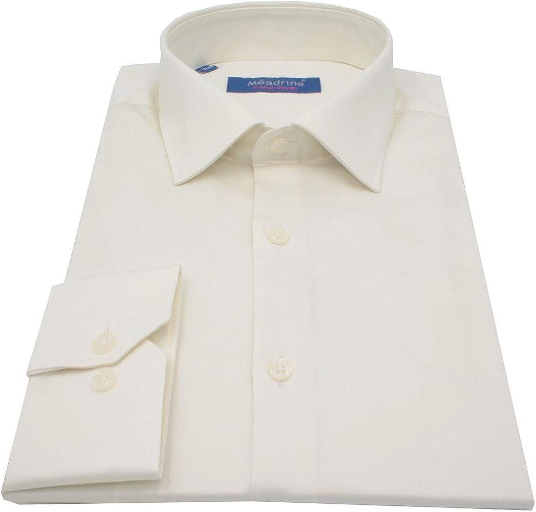 Meadrine - Camisa para Hombre, Color Marfil y Crudo Liso Beige S: Amazon.es: Ropa y accesorios