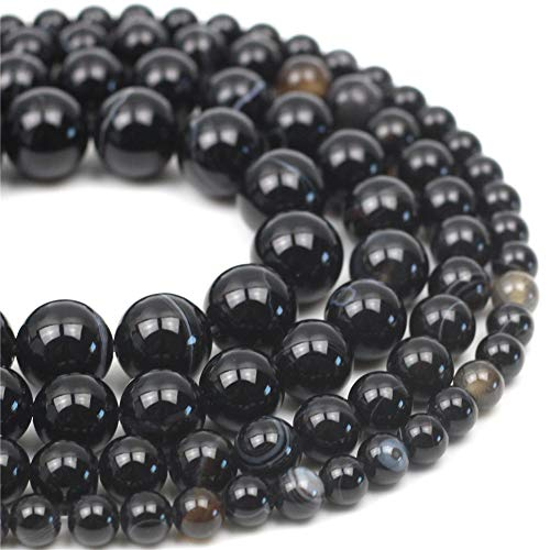 """Oameusa Natural Round 12mm Black Striped Agate Beads Gemstone Loose Beads Agate Beads for Jewelry Making 15"""" 1 Strand per Bag-Wholesale"""