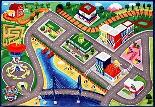 - Jumbo Paw Patrol Activity Area Rug with Marshall and Chase Adventure Bay Road for Toy Cars Play Game Mat Girls Boys HD 3.8 ft X 5 ft