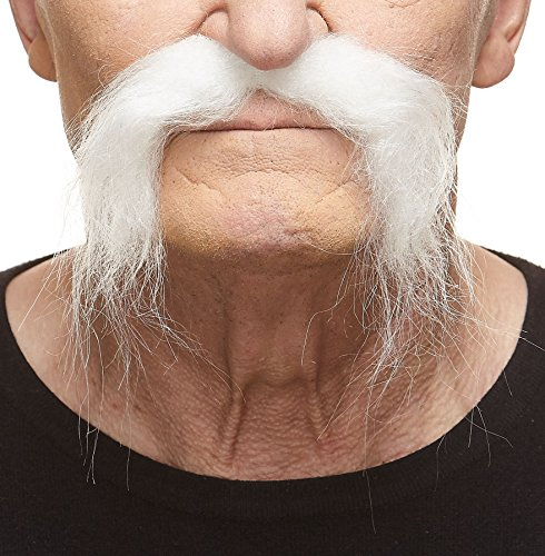 Realistic Fu Manchu white fake mustache, self adhesive