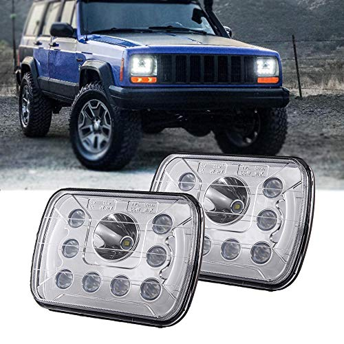 (Pair) 5''x7'' 6''x7'' High Low Beam Led Headlights for Jeep Wrangler YJ Cherokee XJ H6054 H5054 H6054LL 69822 6052 6053 with Angel Eyes -