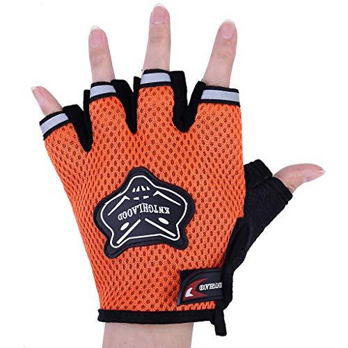 Orcbee  _Breathable Motor Sports Motorcycle Motorbike Riding Armor Gloves Polyester Black (Orange) ()