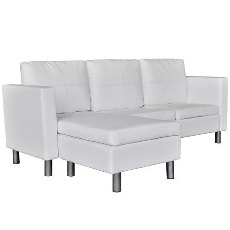 vidaXL Sofá seccional en L de Cuero Artificial 3 Asientos Blanco Mueble de casa