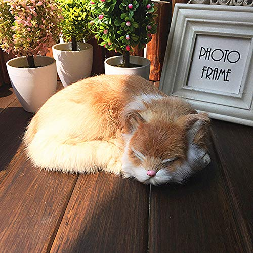 Global Brands Online Realistic Sleeping Cat Lifelike Plush Fake Kitten Fur Furry Animal Figurine Toys Home Decorations