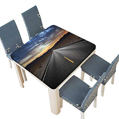 PINAFORE Polyester Tablecloth Table Cover Desert Highway and Mountains at Sunset,Death Valley National Park,California for Dining Room 65 x 65 INCH (Elastic Edge) -