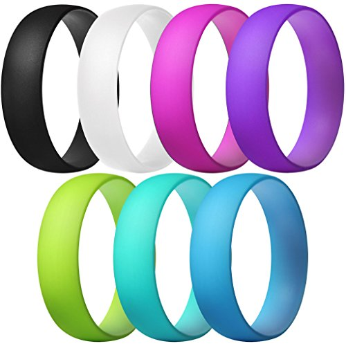 ThunderFit Silicone Rings, 7 Pack Wedding Bands for Men & Women (Black, Pink, White, Purple, Blue, Yellow Green, Teal, 6.5-7 (17.3mm))