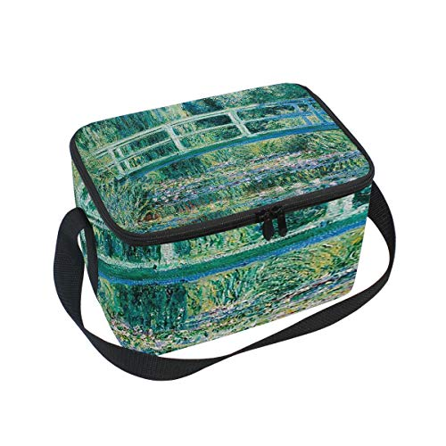 Lunch Bag Cooler Tote Bag Claude Monet Water Lilies And Japanese Bridge Lunchbox Meal Prep Handbag for Picnic School Women Men Kids