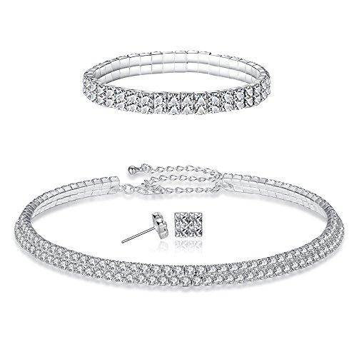FANCY LOVE 1/2/3/4/5 Row Wedding Crystal Rhinestone Bridal Necklace Earrings and Bracelet Jewelry Set - Choker Set Earrings