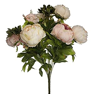 Lily Garden Silk Peony Bouquet Home Decoration (Pink and Peach) 62