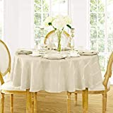 Elegance Plaid Contemporary Woven Solid Decorative Tablecloth by Newbridge, Polyester, No Iron, Soil Resistant Holiday Tablecloth, 90 Round, Beige