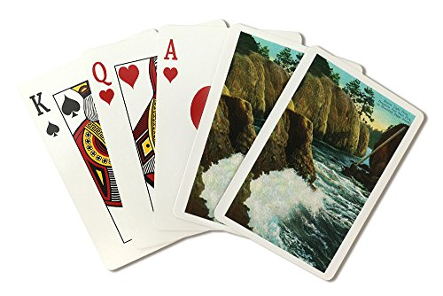 Whidbey Island, WA - Deception Pass State Park View of Beacon Light Point on Puget Sound (Playing Card Deck - 52 Card Poker Size with Jokers)