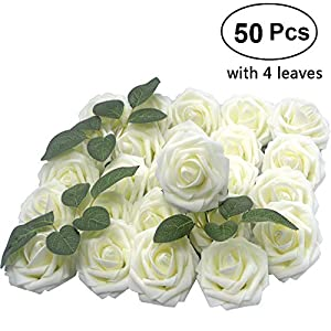 Lmeison Artificial Flower Rose 50pcs Ivory Real Looking Artificial Roses w/Stem for Bridal Wedding Bouquets Centerpieces Baby Shower DIY Party Home Decor, Ivory 21