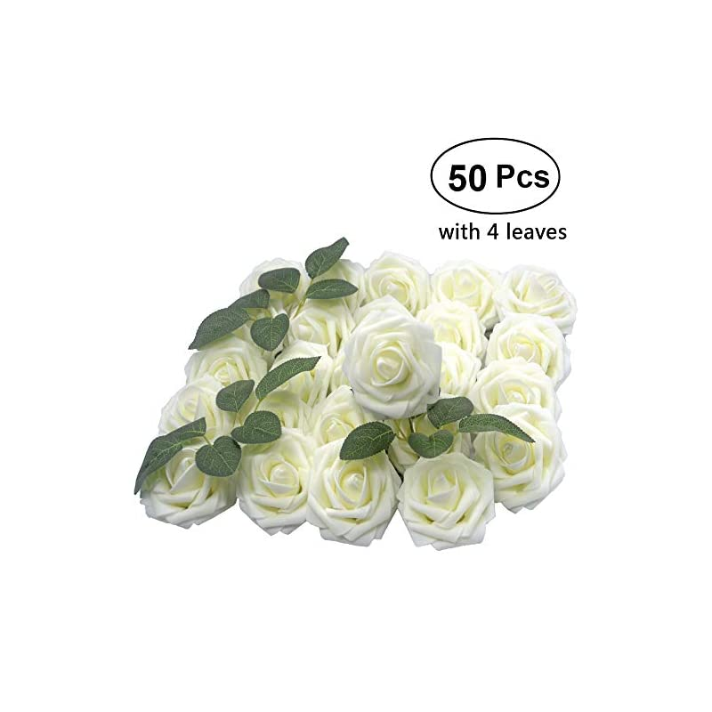 "silk flower arrangements lmeison artificial flower rose 50pcs real looking ivory foam roses w/stem for diy wedding bouquets bridal shower centerpieces arrangements party tables decorations, regular 3"""