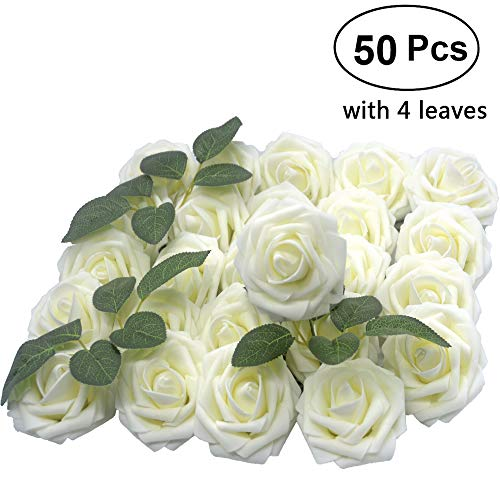 - Lmeison Artificial Flower Rose 50pcs Ivory Real Looking Artificial Roses w/Stem for Bridal Wedding Bouquets Centerpieces Baby Shower DIY Party Home Decor, Ivory