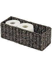 mDesign gevlochten mand van zeewier – stapelbare rieten mand – ideale opslag voor de badkamer
