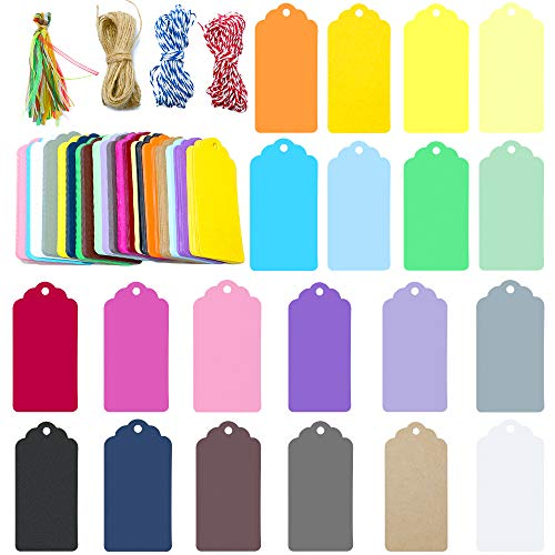 200 PCS 20 Colors Kraft Paper Gift Tags with String Blank Gift Tag Vintage Wedding Favor Hang Tags ()