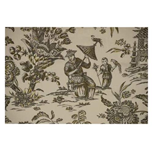 Fabric by The Yard Waverly 100% Linen Asian Toile Print 55