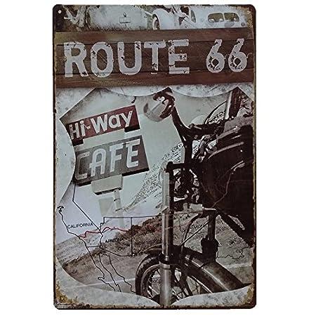MARQUISE & LOREAN Ruta 66 Decoración Pared | Placa Decorativa Vintage Route | Cartel Chapa Póster (Marrón Classic, 20 x 30 cm)