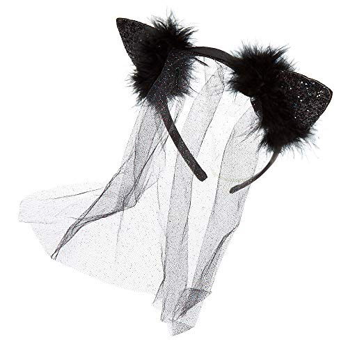 Claire's Girl's Glitter Veil Cat Ears - Black