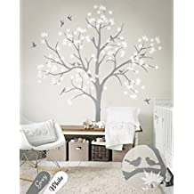 N.SunForest Large Maple Tree Wall Decals Nursery Decor Forest Vinyl Sticker with Bird for Bedroom or Any Room