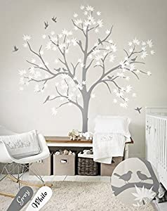 N.SunForest Large Maple Tree Wall Decals Nursery Decor Forest Vinyl Sticker  With Bird For Bedroom Or Any Room Part 48