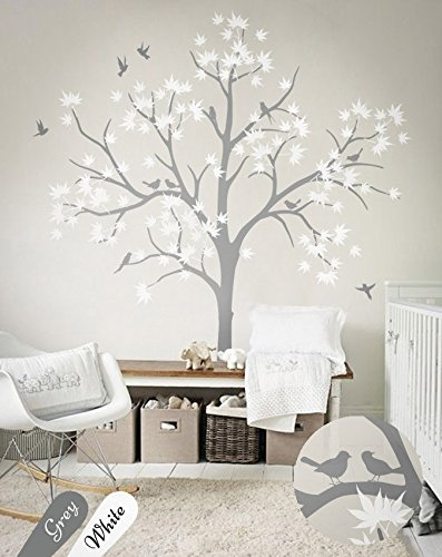 N.SunForest Large Maple Tree Wall Decals Nursery Decor Forest Vinyl Sticker  With Bird For