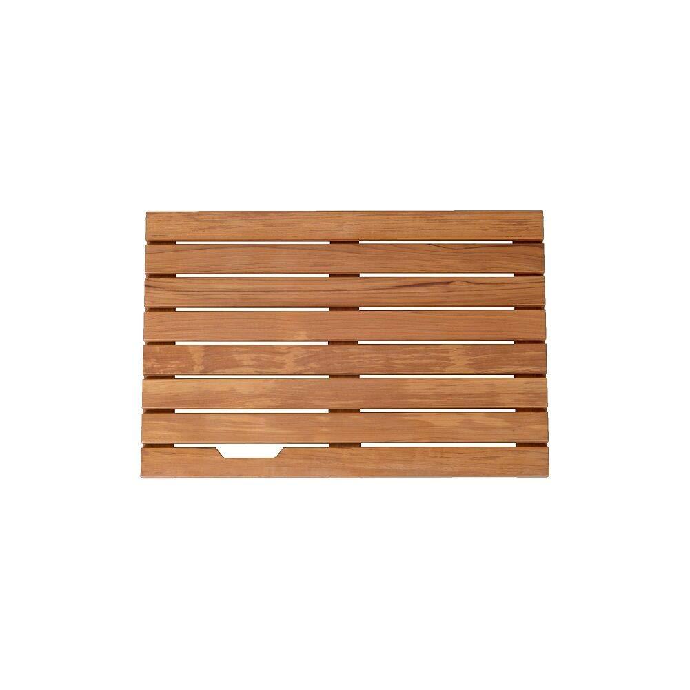 GLS Bathroom Spa Shower or Door Floor Mat in Solid Teak Wood,23.6 x 15.7 x 1.4 inch