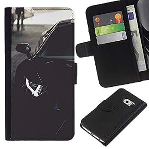 Samsung Galaxy S6 EDGE SM-G925 , la tarjeta de Crédito Slots PU Funda de cuero Monedero caso cubierta de piel (Lambo Aventador)