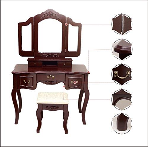 Blongang Vanity Makeup Table Set Tri Folding Mirror Vanity