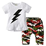Kids Baby Boys 2pcs Clothes Letters Print T-Shirt Stripe Camouflage Harem Pants Set Size 3-4 Years (White)