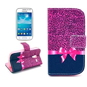 Leopard Bow Pattern Leather Case Cover Funda con bolsillos interiores & Holder para Samsung Galaxy Ace 2 i8160